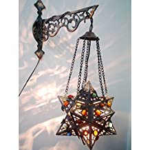 BR55 Egyptian Wall decor / Mount Hanging Star Brass Lamp With Decorative Bracket