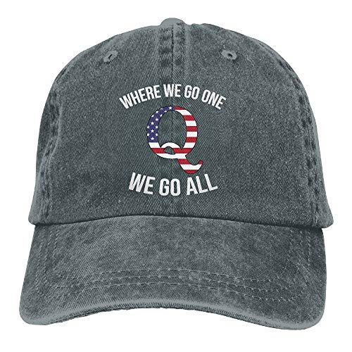 Q Anon Where We Go One We Go All Vintage Washed Dyed Dad Hat Adjustable Baseball Hat ...