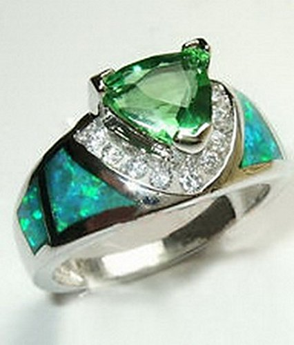 (jacob alex ring Size6 Triangular Green Emerald & Fire Opal Ring Women's 925 Silver Jewelry)