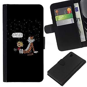 NEECELL GIFT forCITY // Billetera de cuero Caso Cubierta de protección Carcasa / Leather Wallet Case for Sony Xperia Z1 L39 // Calvin Hobbs