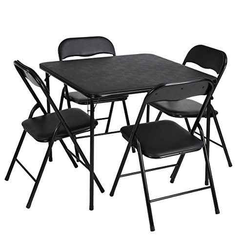GreenForest Dining Table Sets & 4Chairs Folding Upholstery for Home Liveing Room, Black