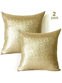 Sequin Pillow Covers 18x18 Inch 2 Pack Square Gold Sequin Pillow  Case,Glitter Decorative