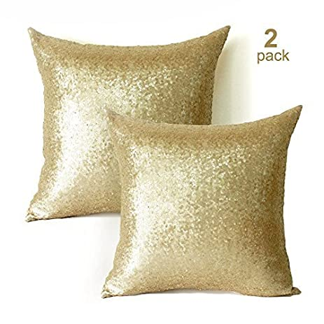 Amazon Sequin Pillow Covers 18x18 Inch 2 Pack Square Gold
