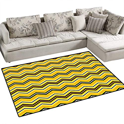 Yellow Chevron Bath Mats Carpet Horizontal Zigzag Stripes in Vibrant Colors Modern Graphic Artful Door Mats for Inside Non Slip Backing 4'x6' Yellow Orange ()