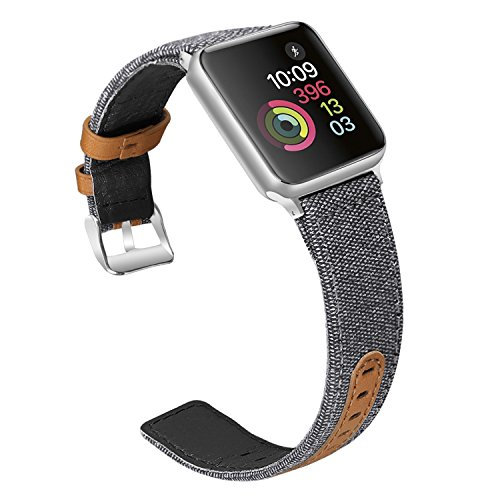 Jobese for Apple Watch Band 42mm, Classic Canvas Fabric Straps with Genuine Leather for Apple Watch Series 3, Series 2, Series 1, Nike & Edition Wristbands by Jobese