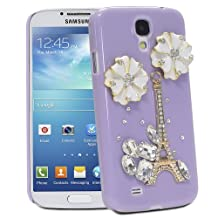 Fosmon GEM Series 3D Bling Eiffel Tower with White Flower Design Case Cover for Samsung Galaxy S4 / S IV / GT-I9500 - Fosmon Retail Packaging (Lavender)