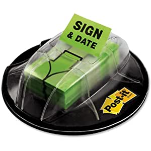 """Post-it Message Flags, """"Sign and Date"""", Bright Green, 1-Inch Wide, 200/Desk Grip Dispenser, 1-Dispenser/Pack"""