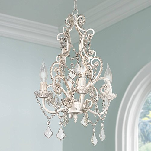 Leila 11 Wide White Finish Beaded Plug-in Swag Chandelier – Regency Hill