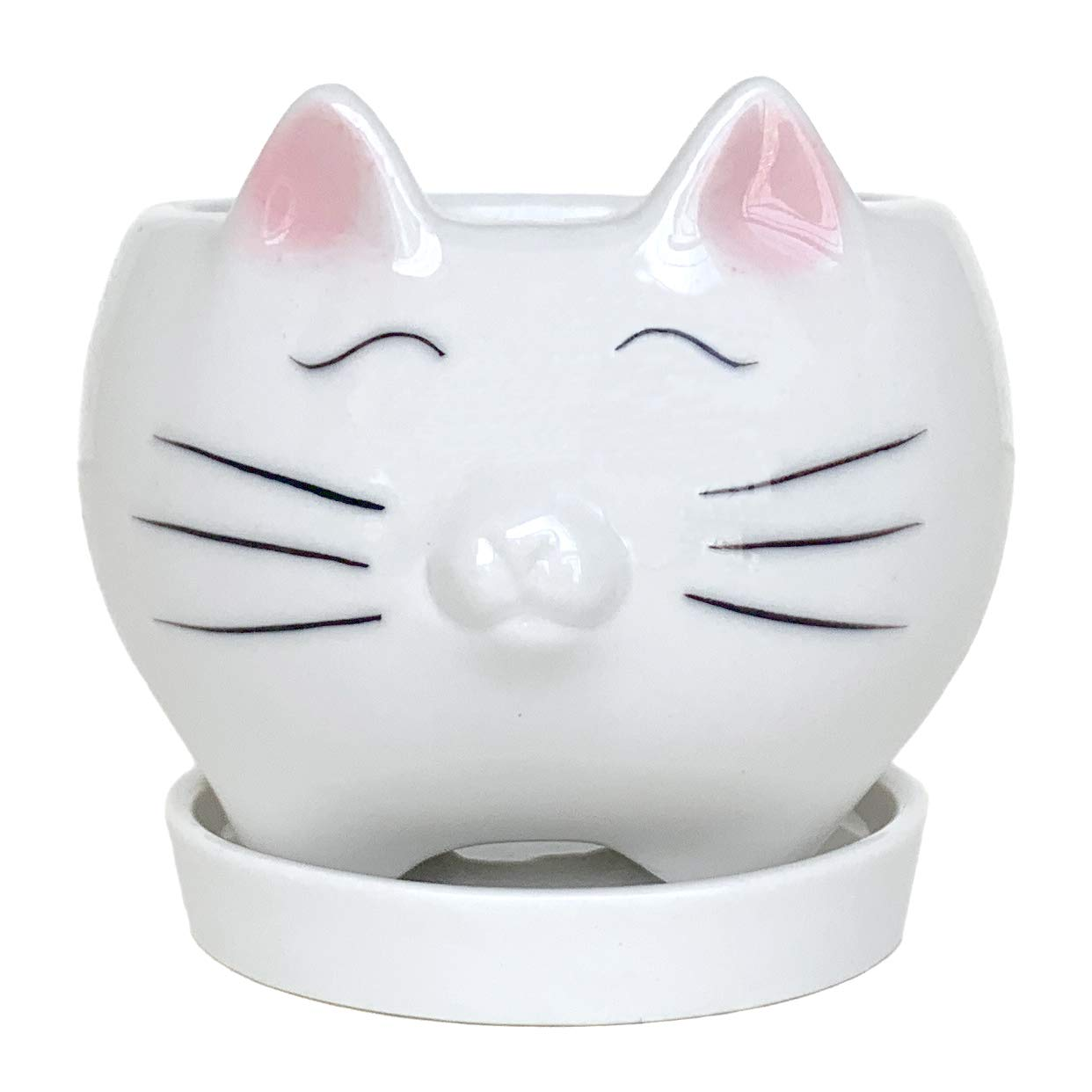 Qiuhome Mini Cute Cat Succulent Planter Pots Flower Pot Decorative White Ceramic Containers with Tray Saucer Cat