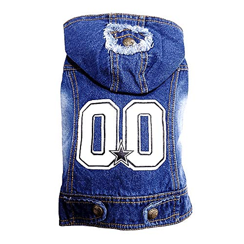 MIBO Pets Clothes Dog Thin Jeans Jacket Fashion Denim Vest Costumes for Small and Medium Dog Cat Puppy