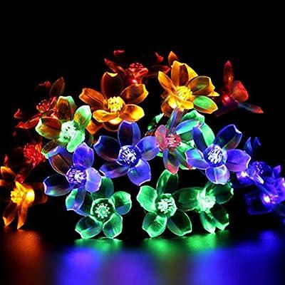 OSALADI Solar LED Sakura String Lights Decoración de luces ...