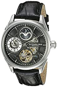 Stuhrling Original Men's 657.02 Delphi Stainless Steel Automatic Self-Wind Dual Time AM/ PM Indicator Watch With Black Leather Band