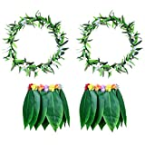 LUOEM Hawaiian Grass Dance Skirt with Garland Beach Luau Party Costume Decoration for Adults 2 Sets