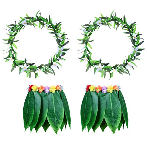 LUOEM Hawaiian Grass Dance Skirt with Garland Beach Luau Party Costume Decoration for Adults 2 Sets by LUOEM
