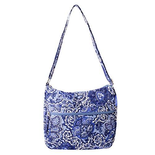 Waverly Womens Printed Quilt Bag Collection Hobo Blue Paisley Handbag (Handbag Quilt Purse)