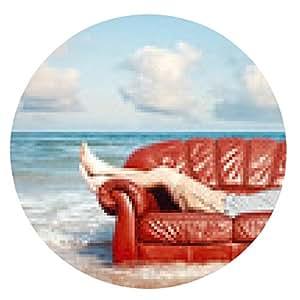 alfombrilla de ratón hombre descansando en el sofá de cuero en la playa - ronda - 20cm
