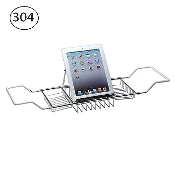 Bandeja del carrito de la bañera de acero inoxidable 304 - Organizador de ducha sobre rejillas