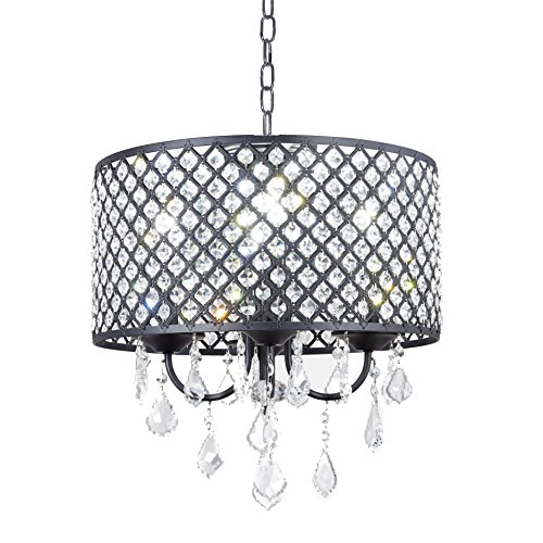 New Galaxy 4-Light Antique Black Round Metal Shade Crystal Chandelier Pendant Hanging Ceiling Fixture by New Galaxy