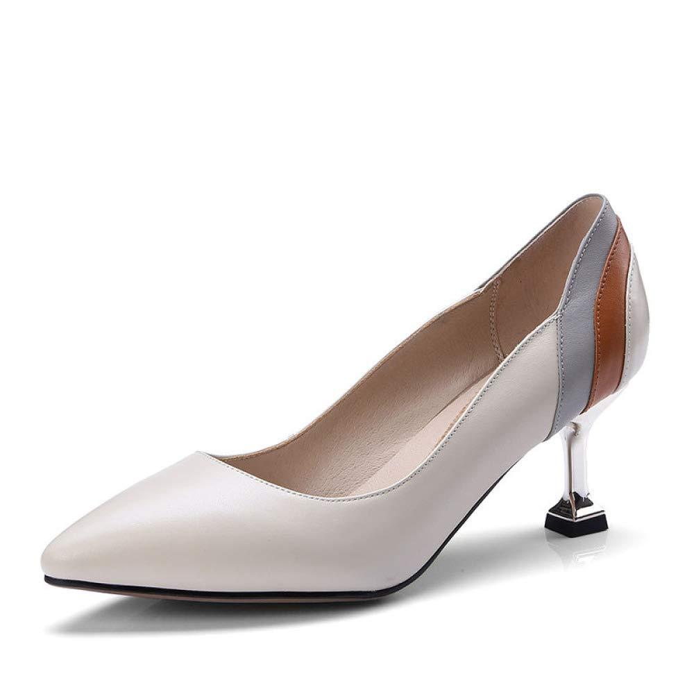 MAKAFJ Damenmode Casual Hochhackige Ausgeschnitten Slip-On Lackleder Bar Abend Große Größe Spitzschuh Schuhe