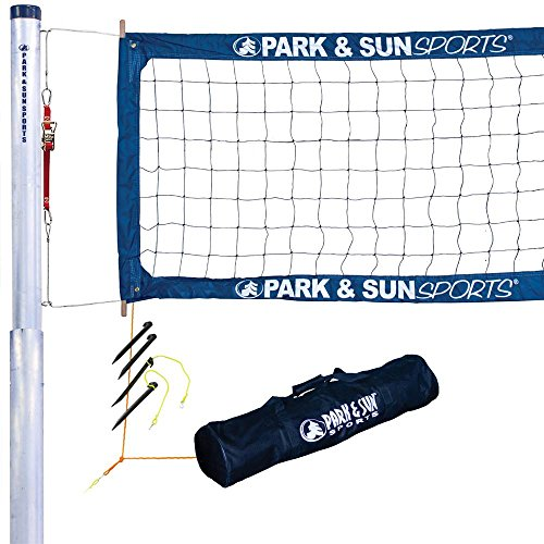 Park & Sun Sports Tournament 4000: Permanent Professional Outdoor Volleyball Net System (2-Piece - Volleyball Net Poles