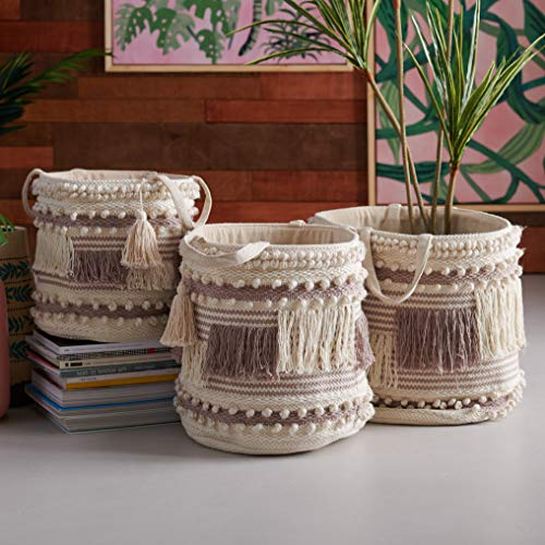 Beautiful,Unique and Sturdy Hand Woven Macrame 3 Piece Basket Set,Natural and Taupe by Drew Barrymore Flower Home,100% Cotton Construction for Softness,Use to Hold Magazines,Throw Blankets and Books