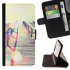 For Samsung Galaxy E5 E500 Case , Verano Miami Mar Mar Beach- la tarjeta de Crédito Slots PU Funda de cuero Monedero caso cubierta de piel