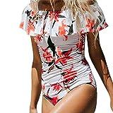 Kaitobe Women's Sexy One Piece Monokini Swimsuit Off Shoulder Floral Print Ruffles Bathing Suit Swimwear Beachwear White