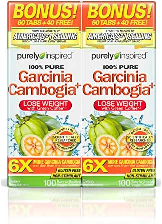 Purely Inspired 100% Pure Garcinia Cambogia Extract with HCA, Extra Strength,1600mg Garcinia Cambogia, Weight Loss, 100 count Veggie Tablets (PACK OF 2)