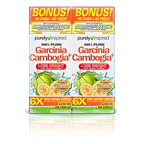 Purely Inspired 100% Pure Garcinia Cambogia Extract with HCA, Extra Strength,1600mg Garcinia Cambogia, Weight Loss, 100 count Veggie Tablets (PACK OF 2) - Extract 100 Tablets