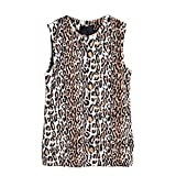 OutTop Women's Fashion Leopard Print Vest Sleeveless Coat Faux Fur Tops