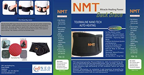 Back Brace by NMT ~ Lumbar Support Black Belt ~ Posture Corrector ~ Arthritis, Pain Relief, Sciatica, Scoliosis ~ Physical Therapy for Women-Men ~ 4 Adjustable Sizes-'L' Fits Waist 34-40 (86-102cm)