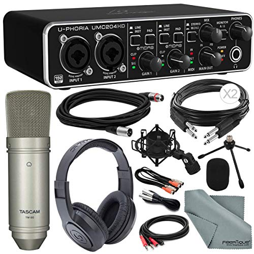 Bundle Recording - Behringer U-PHORIA UMC204HD USB 2.0 Audio/MIDI Interface and Platinum Bundle w/Pro Condenser Mic + Headphones + Cables + Fibertique