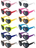 Blulu 12 Pieces Neon Colors Heart Shape Sunglasses for Women Party Favors and Festival (Mixed Color)