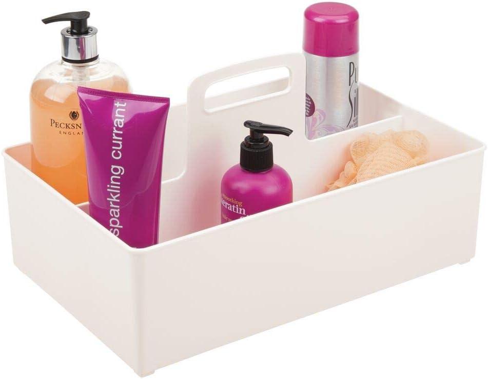 mDesign Caja organizadora con 2 Compartimentos – Organizador de Accesorios portátil para champú, Gel y cosméticos – Cesta para baño con asa de plástico sin BPA – Crema