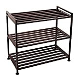 H&B Luxuries 3-Tier Iron Utility Shoe Rack 9 Pairs Shoe Storage Organizer Shoe Racks for Closets SR03T (Metal)