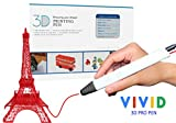 VIVID Professional 3D Pen with OLED Display for kids and adults, comes with extra long power cable, Compatible with ABS AND PLA filaments, FREE - 1 x Extra Nozzle, 3 x Filaments and 2 x Finger Guards