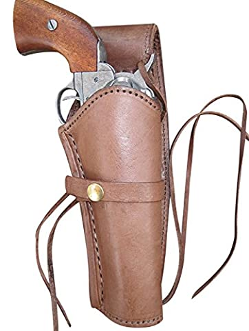 Leather Gun Holster for .38 caliber and .357 caliber revolvers (Right Handed) Smooth Brown