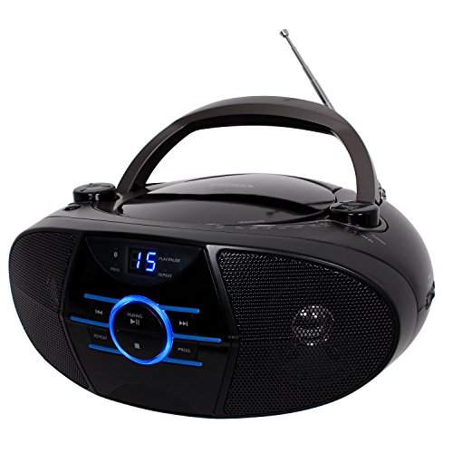 tooth Cd Player AM/FM Radio Tuner Mega Bass Reflex Stereo Sound System Plus Superior 6ft Aux Cable to Connect Any Ipod, Iphone or Mp3 Digital Audio Player ()