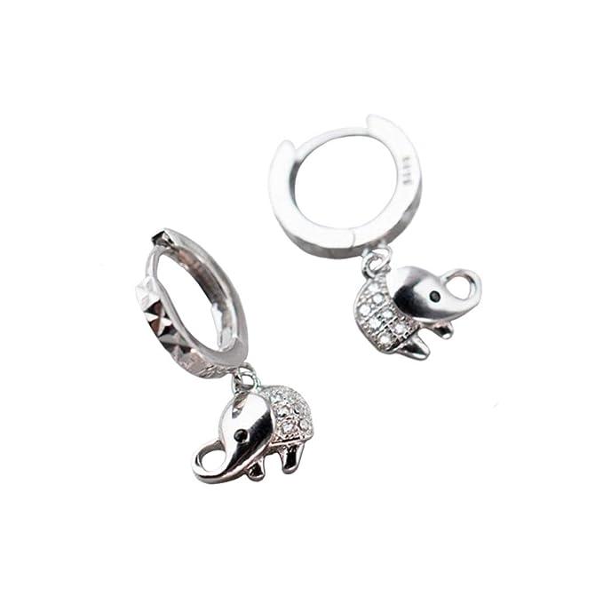 Hemotrade 925 Pendientes De Elefantes Pequeños De Plata Y Diamantes. Pendientes Simples For Mujer Niña. (Color : Sliver)
