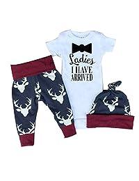 Newest Newborn Baby Kids Boys Girls T-shirt Tops Bodysuit+ Deer Pants Outfits Sets