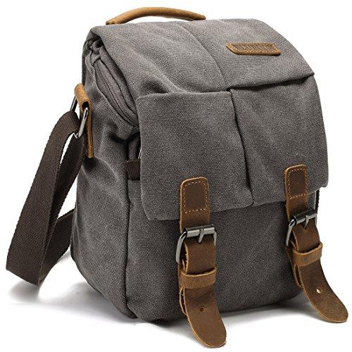 Camera Bag Vintage Canvas Shoulder Genuine Leather Trim Shockproof Messenger Bag