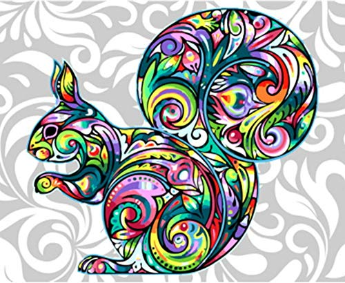 (Canvas Wall Art Painting by Numbers Animal Colorful Squirrel DIY Colorful Picture 16X20In)