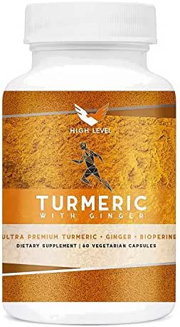 High Level Ultra Premium Turmeric + Ginger + BioPerine® | 60 Vegetarian Capsules | Top Vegan + Natural Joint Pain Relief, Anti-Inflammatory, Antioxidant & Anti-Aging | Bioperine® for Best Absorption