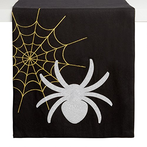 Northeast Home Goods Halloween Spider and Web Shiny Table Runner, 72-inch x -