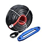3/8'' x 95' 20000 LBs Synthetic Winch Line Cable Rope + 10'' Aluminum Hawse Fairlead For ATV UTV JEEP KFI Truck (Glossy Blue)