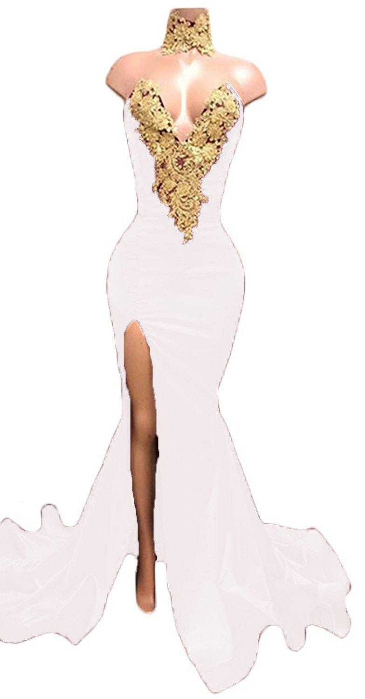 Fanciest Women's White Appliques Mermaid Prom Dresses Long Split Evening Gowns White US6