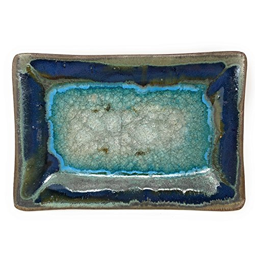 - Dock 6 Pottery 10-inch Rectangular Tray with Fused Glass, Green with Accents