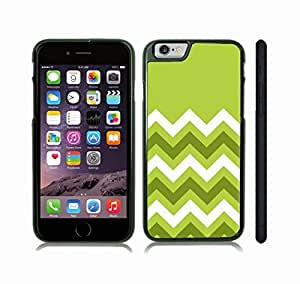 iStar Cases? iPhone 6 Case with Chevron Pattern Green/ Olive/ White Stripe , Snap-on Cover, Hard Carrying Case (Black)