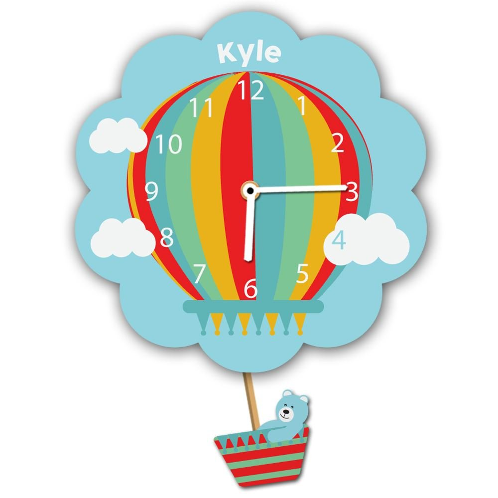 Customised Hot Air Balloon Silent Tick Wall Clock for a Boy Forever Bespoke