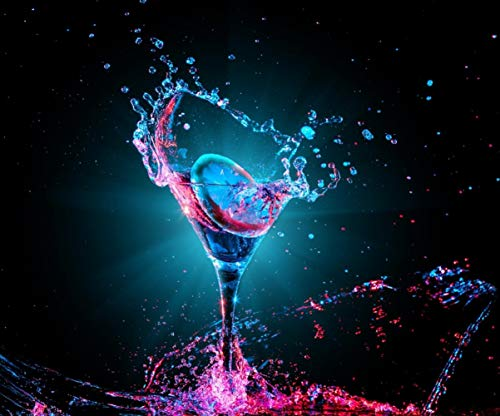 10x8ft Colorful Cocktail Glass Splash Dark Photo Photography Background Disco Ball Party Club Entertainment Backdrop for Shoot Picture ()